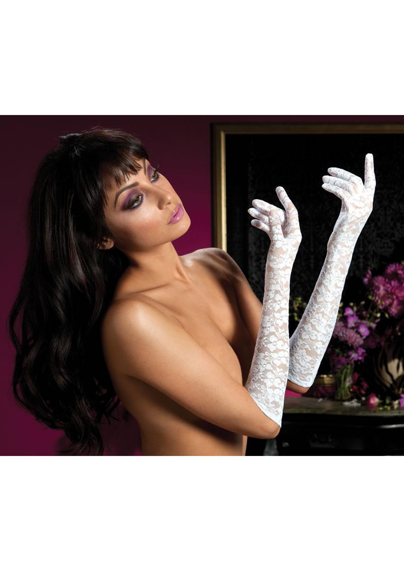 Lace Elbow Length Gloves-white O/s